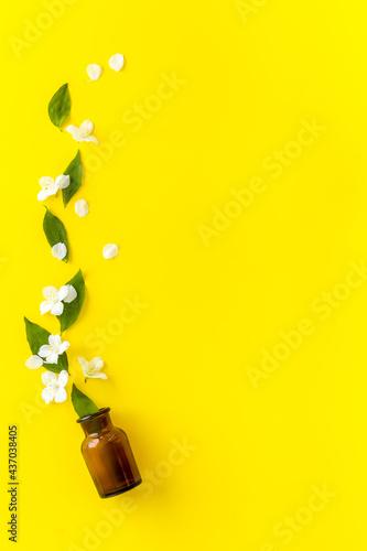 Valokuvatapetti Bottle of fragrant jasmine essential oil. Top view