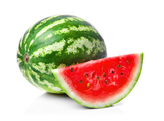 Ripe juicy watermelon isolated on white background.
