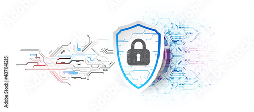 Technological abstract background on the topic of information protection and computer security.