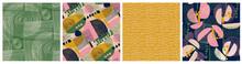Modern Floral Collage And Polka Dot Pattern Set