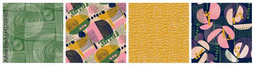 Fotografia Modern floral collage and polka dot pattern set