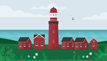 Lighthouse On Seashore. Small Old Buildings And Lighthouse On Island Seaside. Coastline Landscape With Beacon. Vector Illustration In Flat Style