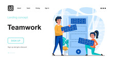 Teamwork Web Concept. Company Employees Do Work Tasks, Develop Strategy Together, Time Management. Template Of People Scenes. Vector Illustration With Character Activities In Flat Design For Website