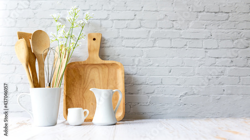 Fotografie, Obraz Kitchen tools and kitchenware utensil object on kitchen shelf wood white for healthy eat and health care life
