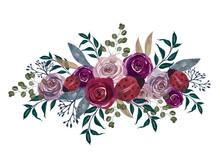 Watercolor Vintage Floral Splash Little Ladybug Lavender Mauve Pink And Plum Floral Rose Flowers And Foliage Leaf Isolated
