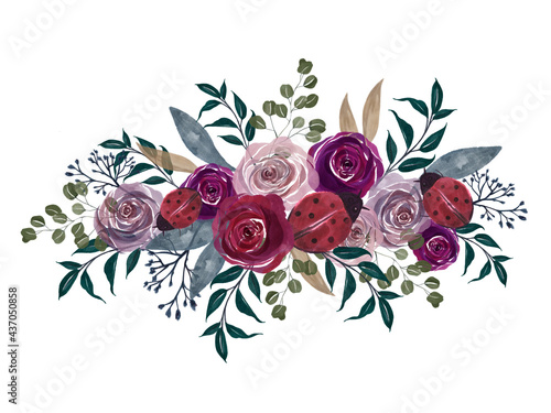 Obraz na płótnie Watercolor vintage floral splash little ladybug lavender mauve Pink and plum Flo