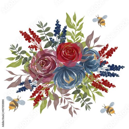 Fotografia Watercolor vintage floral splash little Bee red mauve blue gold green Floral ros