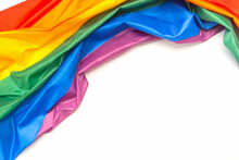 The Rainbow Flag (LGBT) Isolated On A White Background. Top View. Flat Lay. Space For Text. Love Concept