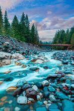 River Stream Water Flow In Mount Rainier National Park, Washington State, USA