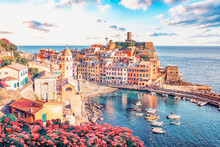 Vernazza Village In Cinque Terre National Park At Sunset, Italy
