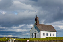 Church In The Field, Southern Iceland. Sunny Summer Day With Dramatic Cloudy Sky. Pink Balloons, Wedding Preparation.
