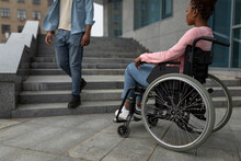 Young Black Disabled Woman Suffering From Lack Of Wheelchair Friendly Facilities, Cannot Get Home Without Ramp