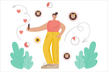Concept Ephemeral Content. Woman Blogger Records Temporary Content With Limited Time. Vector Illustration Flat Style, A Woman In Social Networks Tells About Her Life. Limited-time History