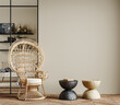 Leinwandbild Motiv Wall mockup in cozy beige interior background with african furniture and decor, boho style, 3d render