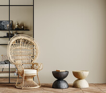 Wall Mockup In Cozy Beige Interior Background With African Furniture And Decor, Boho Style, 3d Render