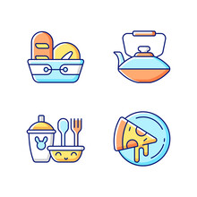 Kitcken Dinnerware RGB Color Icons Set. Isolated Vector Illustrations. Kitchen Bread Basket. Pizza Plate For Pizzerias. Safe Kids Dinnerware. Chinese Iron Teapot Simple Filled Line Drawings Collection