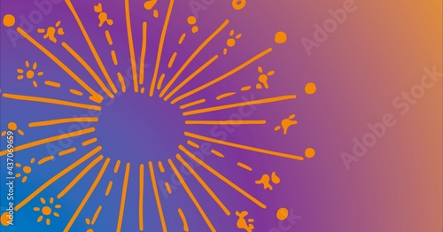 Composition of fireworks with copy space on purple to orange background