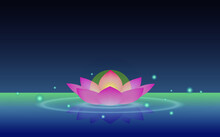 Water Lantern In The Shape Of Lotus Flower.Lantern Floating On The Calm Water. People Release Water Lanterns During Ghost Festival.