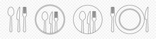 Set Of Outline Cutlery. Fork, Knife, Spoon And Plate. Vector Illustration Isolated On Transparent Background