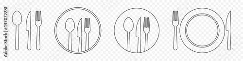 Stampa su Tela Set of outline cutlery