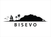 Bisevo Croatian Island Landscape Vector Graphic
