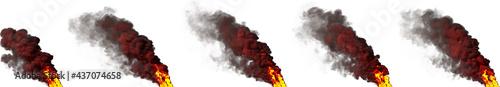 Fotografie, Obraz flames, column of smoke on white isolated - design industrial 3D rendering