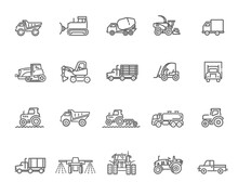Agricultural And Farming Machines. Industrial Machinery Icons