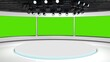 Leinwandbild Motiv Tv studio. News room. Blye and red background. General and close-up shot. News Studio. Studio Background. Newsroom bakground. The perfect backdrop for any green screen or chroma key video production