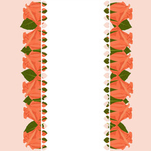 Sweet Floral Greeting Card In Orange Rosebuds And Leaves, And White Frame In Heart Symbols With Textspace.