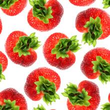 Seamless Pattern Strawberry Top View.