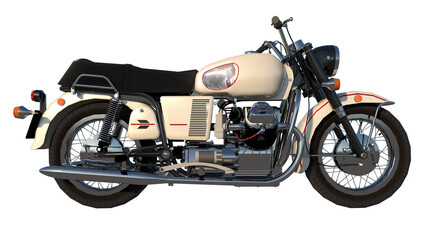 motorcycle italian motorbike - Lateral view white background 3D Rendering Ilustracion 3D