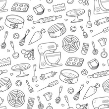 Seamless Pattern With Tools For Making Cakes, Cookies And Pastries. Doodle Confectionery Tools - Stationary Dough Mixer, Baking Pans And Pastry Bag. Hand Drawn Vector Illustration On White Background.