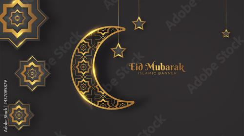 Fotografering elegant eid mubarak islamic background with crescent moon