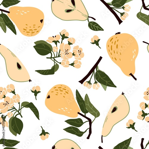 Canvastavla Doodle pear, flowers, leaves, buds vector seamless pattern