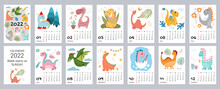 Children's Calendar Template For 2022. Bright Vertical Design With Abstract Dinosaurs In A Flat Style. Editable Vector Illustration, Set Of 12 Months With A Cap. The Week Starts On Sunday.