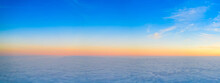 Orange Dawn Over The Clouds. Aerial View. The Other Side Of The Sky.