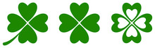 Green Clover Icon Set. Vector Illustration