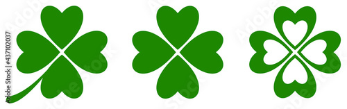 Fotografia Green clover icon set. Vector illustration