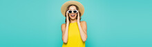 Happy Woman In Straw Hat Holding Sunglasses Isolated On Blue, Banner