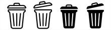 Trash Bin Icon. Trash Can Open Icon, Vector Illustration.