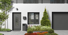 Modern Monochrome Architectural Element Of The Building Facade. 3D Rendering Of A City House With A Dark Front Door, Window, Trees And Plants.