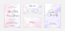 Wedding Invitation Template On Lavender Pink Liquid Watercolor Background With Golden Lines And Frame. Pastel Violet Marble Alcohol Ink Drawing Effect. Vector Illustration Of Romantic Card Design