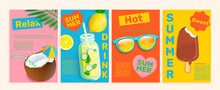Set Of Summer Flyers,cards With Tropical Themes.Bright And Gentle Hot Season Banners And Posters.Coconut,detox, Ice Cream, Sunglasses For Advertise.Drinks And Sweets Template For Design,vector.