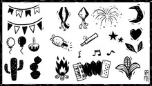 Elementos Festa Junina, São João, Sanfona, Fogueira, Cacto, Fogos, Xilogravura, Nordeste Do Brasil. Accordion, Bonfire, Cactus, Fireworks, Woodcut, Northeastern Brazil.
