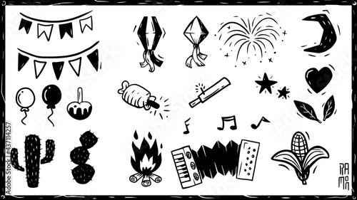 Obraz na plátne Elementos festa junina, São João, sanfona, fogueira, cacto, fogos, Xilogravura, Nordeste do Brasil