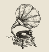 Musical Record Gramophone In Vintage Engraved Style. Hand Drawn Sketch Vector Illustration