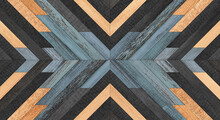 Old Shabby Wooden Wall Panel Made Of Barn Boards. Dark Wood Texture. Wooden Background With Chevron Pattern.
