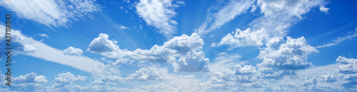 Fotografie, Tablou Divine blue sky and fluffy clouds, rays radiating Wonderful Heavenly Light