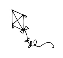 Vector Drawing Of A Kite. Hand-drawn In Doodle Style, Children's Toy Kite In The Shape Of A Diamond, With Bows On A String, Isolated By A Black Line On A White Background For A Design Template