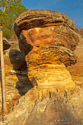 Evening Glow on an Unusual Rock Formation #437121849